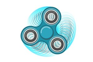 Motion hand fidget spinner color blue vector toy