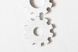 Labor Day tconcept - text and white gears