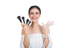 Beautiful woman is happy with makeup