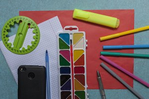school and office items for study