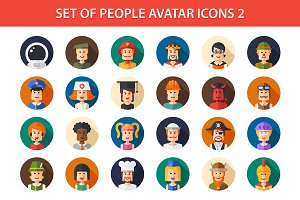 24 People Flat Icons Set 2