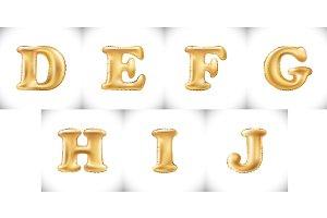 D E F G H I J Gold Balloons letter