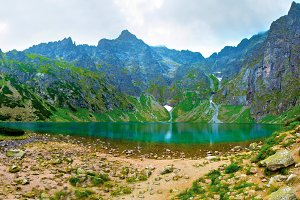 Lake in mountains.