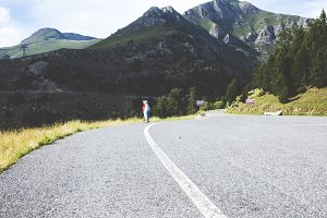 Road with curves in high mountains