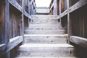 Old worn wooden staircase