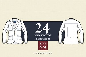 24 Men Vector Apparel Templates