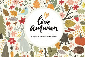 Autumn card, pattern, lettering