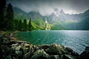 Lake in mountains.