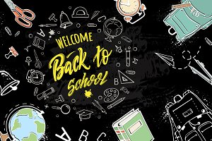 welcome back to school- vector set