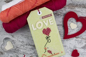 Handmade tag and love shapes