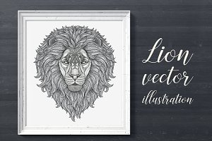 Outline vector lion illustration