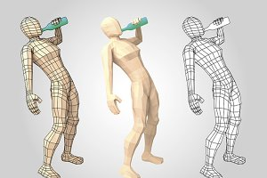 Wireframe human figure drinking