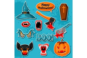 Happy Halloween set of cartoon holiday sticker symbols