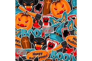 Happy Halloween seamless pattern with cartoon holiday sticker symbols