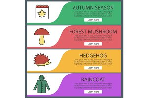 Autumn season web banner templates set