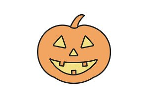 Halloween pumpkin color icon