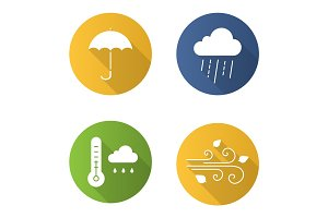 Autumn weather flat design long shadow glyph icons set