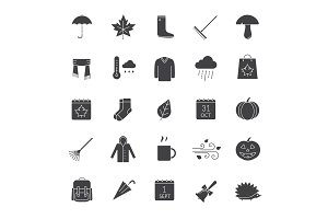 Autumn glyph icons set