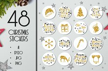 48 Christmas Gift Round Stickers Set