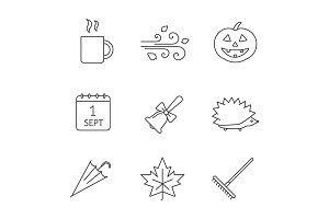 Autumn season linear icons set