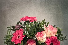 Flower bouquet of gerbera and roses