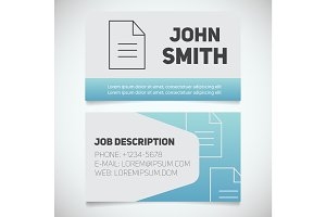 Business card print template with document logo