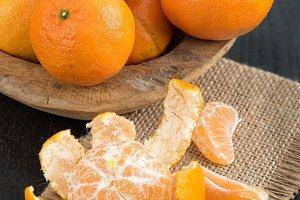 Still life with fresh mandarins