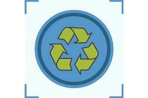 Recycle symbol color icon