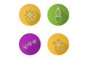 Flowers flat linear long shadow icons set