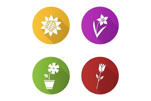 Flowers flat design long shadow glyph icons set