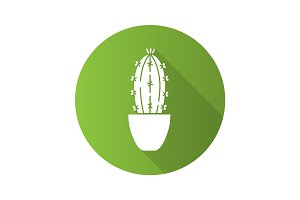 Cactus in flowerpot flat design long shadow glyph icon