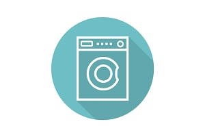 Washing machine flat linear long shadow icon