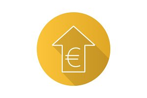 Euro rate rising flat linear long shadow icon