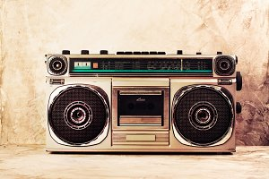 Retro radio cassette stereo player