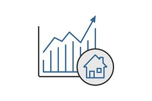 Real estate market growth chart color icon