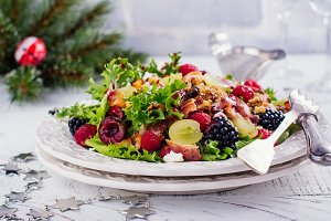 Delicious colorful salad for Christmas dinner