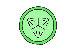 Cucumber slice color icon