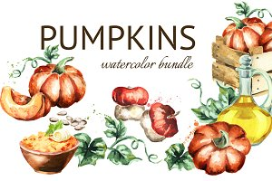 Pumpkin. Watercolor bundle