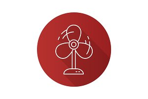 Fan flat linear long shadow icon