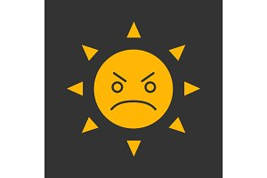 Angry sun smile glyph color icon