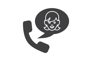 Phone talk with girl glyph icon