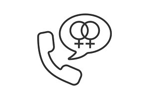 Handset with interlocked woman signs inside speech bubble. Linea