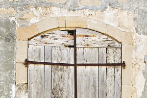 Old vintage wooden locked door