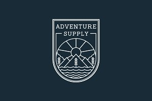 Adventure Line Art Logo Badge