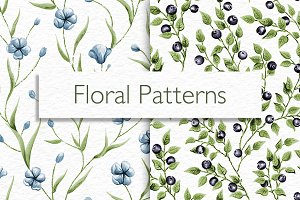Floral and Blueberry Patterns