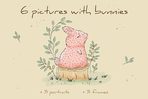 6 pictures with bunnies
