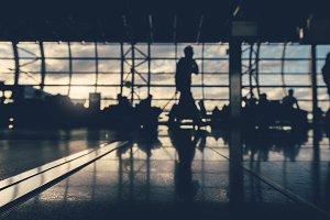 Defocus silhouettes in the airport.