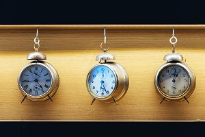 Vintage alarm clocks.