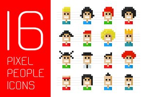16 Pixel people icons