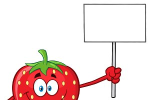 Strawberry Holding A Blank Sign